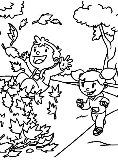 Playing With The Fall Foliage Coloring Pages For Kids Printable Autumn And