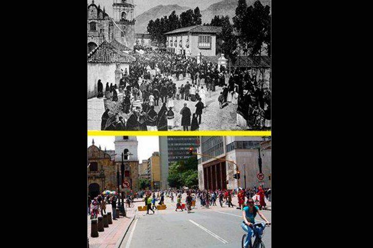 I ♥ Bogotá - Comparación Carrera séptima (calle real) con Av. Jiménez. En 1870 y en la actualidad. Iglesia y puente de San Francisco.