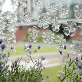 recycled plastic drink bottles make these flower cascades