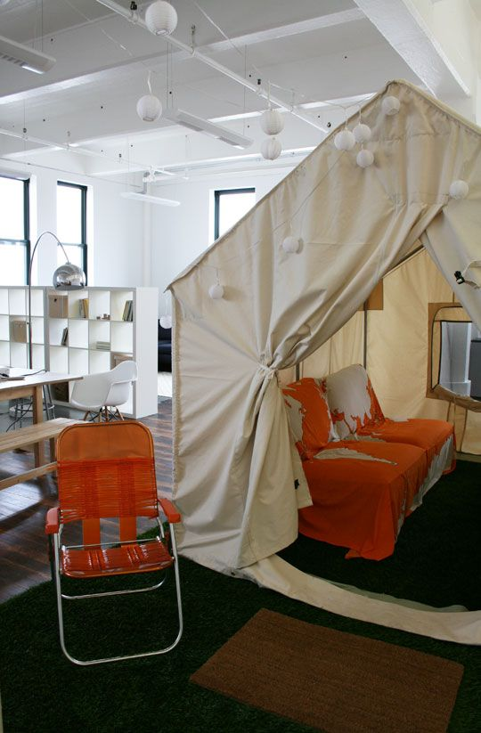 Tent in an office! If you need more privacy than a cubicle...Work Decor, Offices Design, Interiors Design, Room Ideas, Design Bedrooms, Offices Ideas, Bedrooms Interiors, Design Offices, Meeting Room