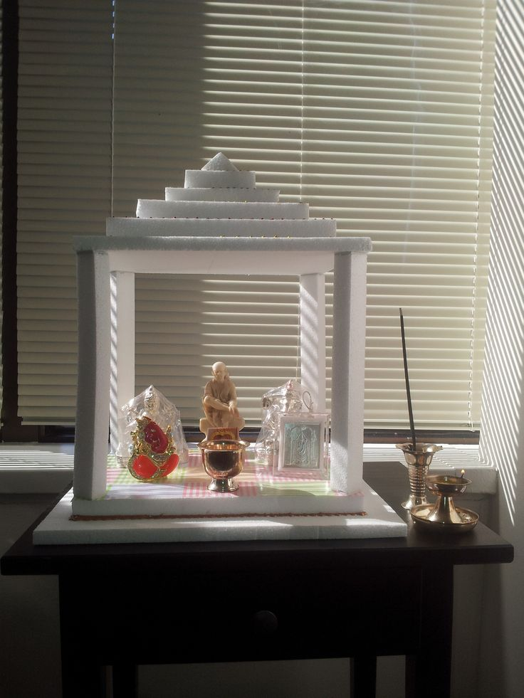 Pooja Mandir Made Out Of Thermocol Temple Decor