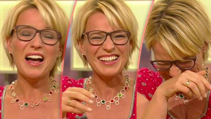 German TV host Andrea Ballschuh wearing the 3D printed MONOQOOL glasses (model GU80), while having a laughing fit live on the programme 'Volle Kanne' on ZDF TV