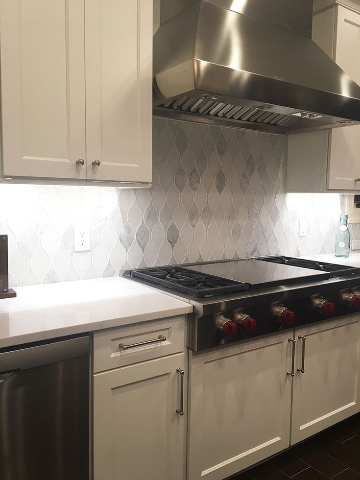 Stunning Use Of Teardrop Backsplash Pattern With Chandelier Carrara  Teardrop Glass Mosaic Tile In This Teaneck, NJ Kitchen | White Teardrop  Backsplash ...