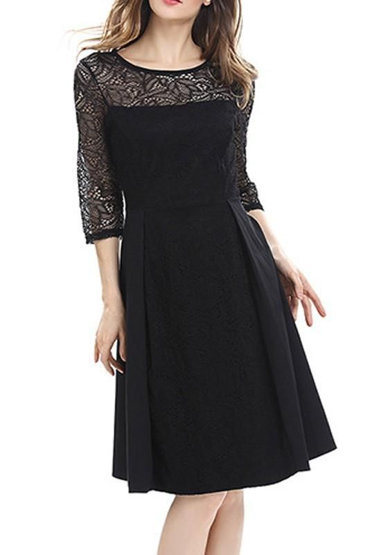 69d2ea36009 Black Lace Patchwork Draped Elbow Sleeve Round Neck Fashion Midi Dress