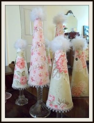 DIY Shabby Chic Christmas floral cone trees on crystal candlesticks  (Original blog removed)
