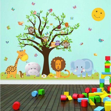 Αυτοκόλλητο τοίχου - δέντρο με ζωάκια