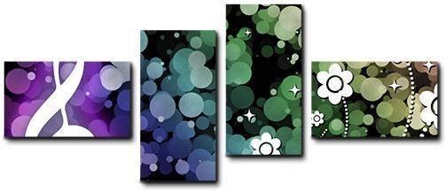 Quadro moderno 4 pz stampa su tela cm 176x74 quadri XXL arte astratto note