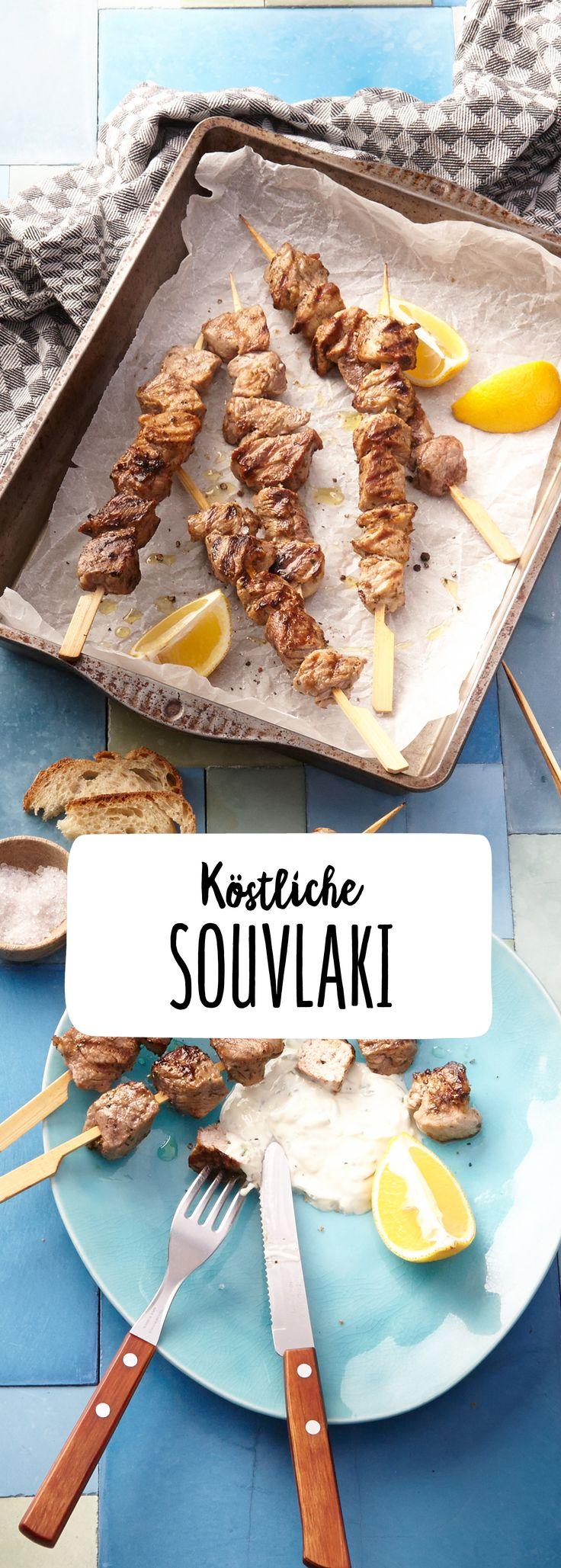 Souflaki Lecker Griechisch Mediterran Zaziki Braten Ofen Fleisch Schwein Lamm Rind Spieß Buffet Hauptgericht Mahlzeit Party Snack