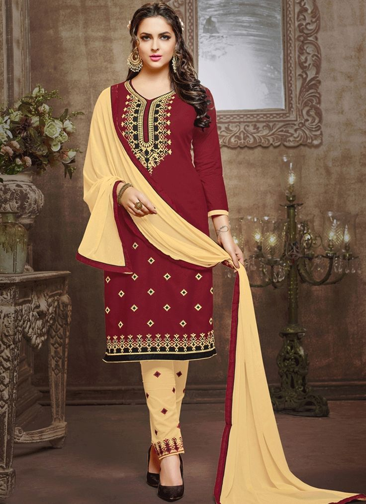 Buy indian salwar kameez and designer salwar kameez online at very good prices. Buy this cotton cream and maroon for festival and party