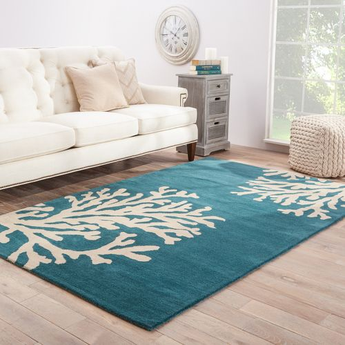 Coastal Seaside Coral Rug - Atlantic Blue