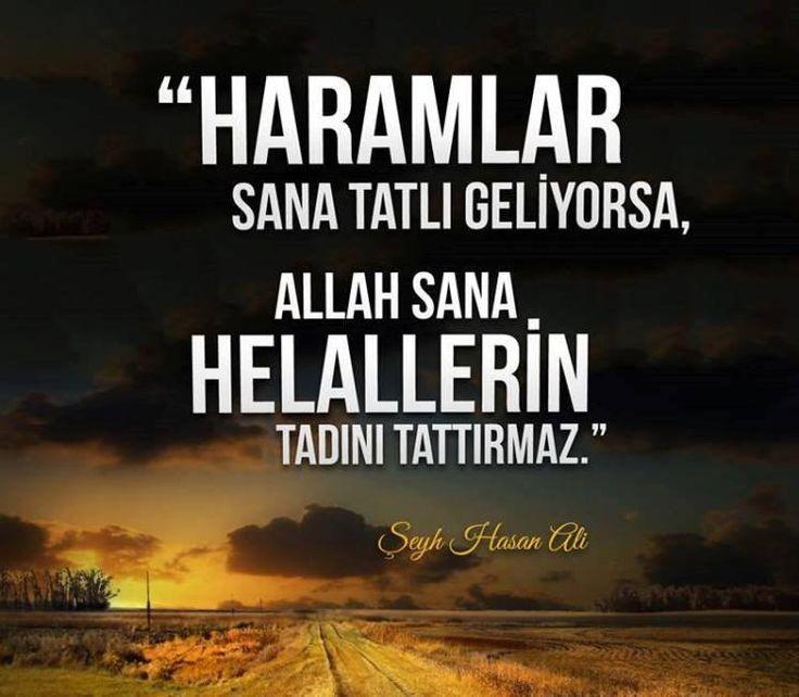 """""""Haramlar sana tatlı geliyorsa, Allah sana helallerin tadını tattırmaz.""""  - Şeyh Hasan Ali"""