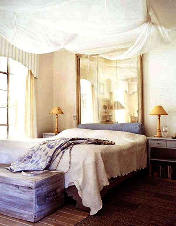Love the idea of utilizing a mirror as a headboard... 101 Headboard Ideas That Will Rock Your Bedroom