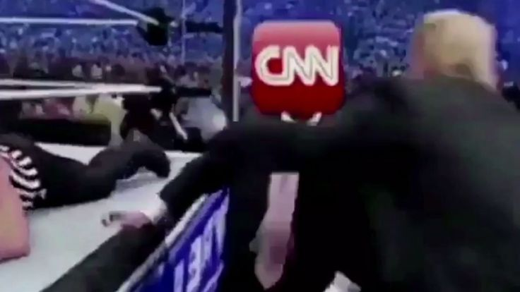 'Fighting' CNN. In reality, flabby Rump couldn't fight his way out of a paper bag.