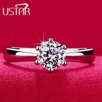Классический Шесть Коготь 1 Карат 6 мм CZ алмазные Обручальные Кольца для женщины Ювелирные Изделия посеребренная Обручальные кольца женский Анель Bijoux бренд