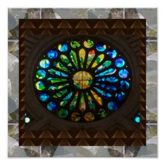 Moon Stones n Church Wall Stained Glass Star Art Poster