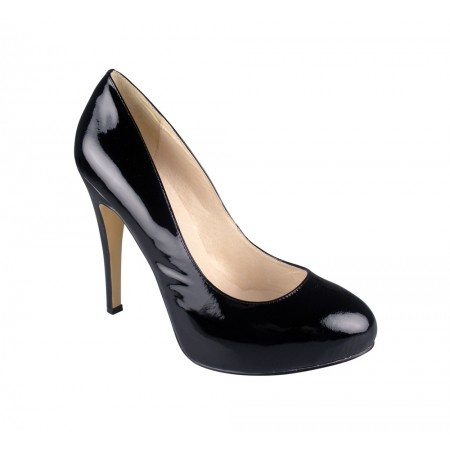 Black patent heels with a mid heel and slight platform toe