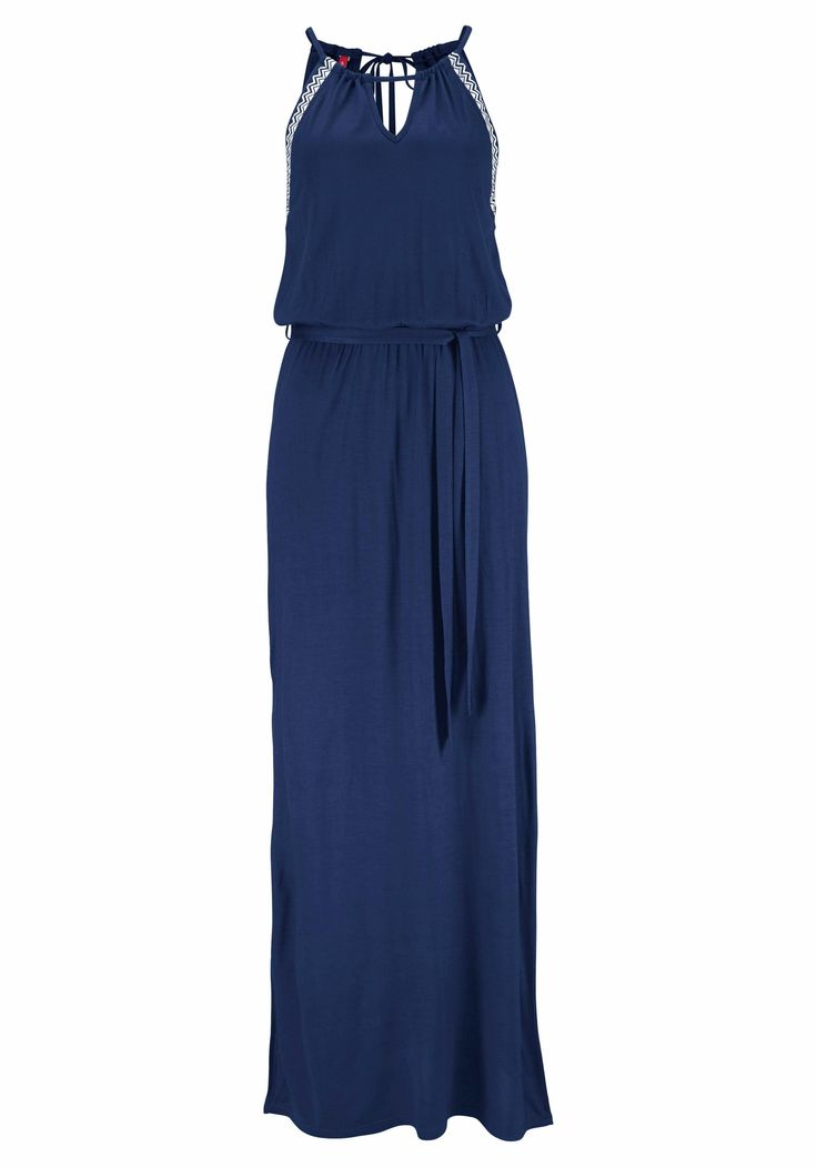 damen soliver red label beachwear maxikleid blau