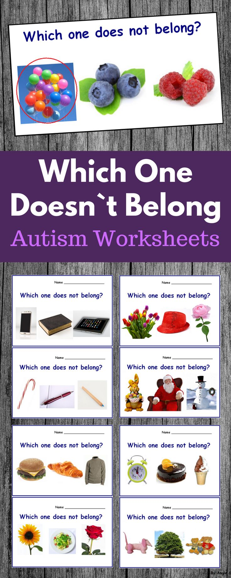 Which One Does not Belong Worksheets for early age and autism. These printables use real life pictures and can be reused as many time as you need. #autism #sped #speechtherapy  #worksheets #tpt #teacherspayteachers For more resources follow https://www.pinterest.com/angelajuvic/autism-and-special-education-resources-angie-s-tpt/