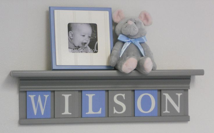 Soft Blue and Gray Baby Boy Nursery Decor 24 Shelf by NelsonsGifts