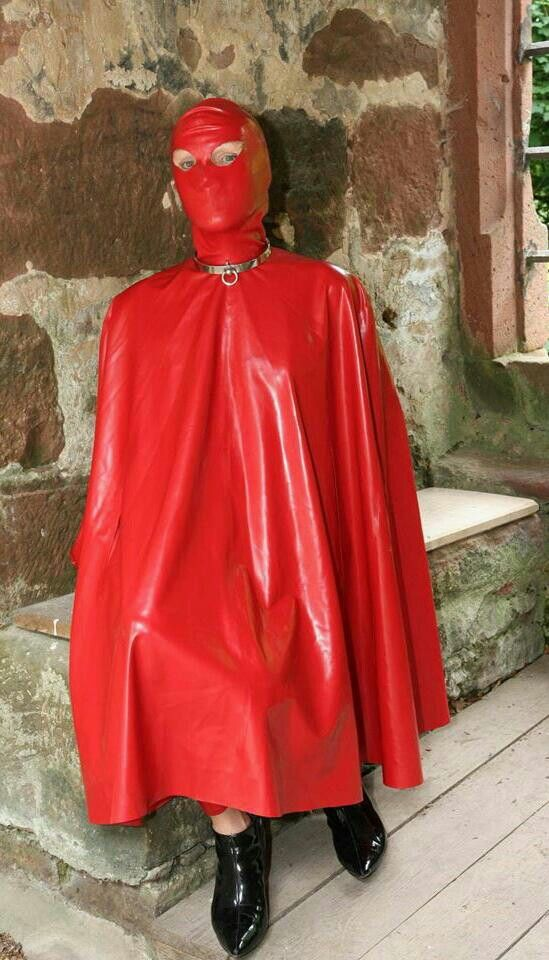 Red Rubber Hooded Cape Latex Amp Vinyl Capes Pinterest