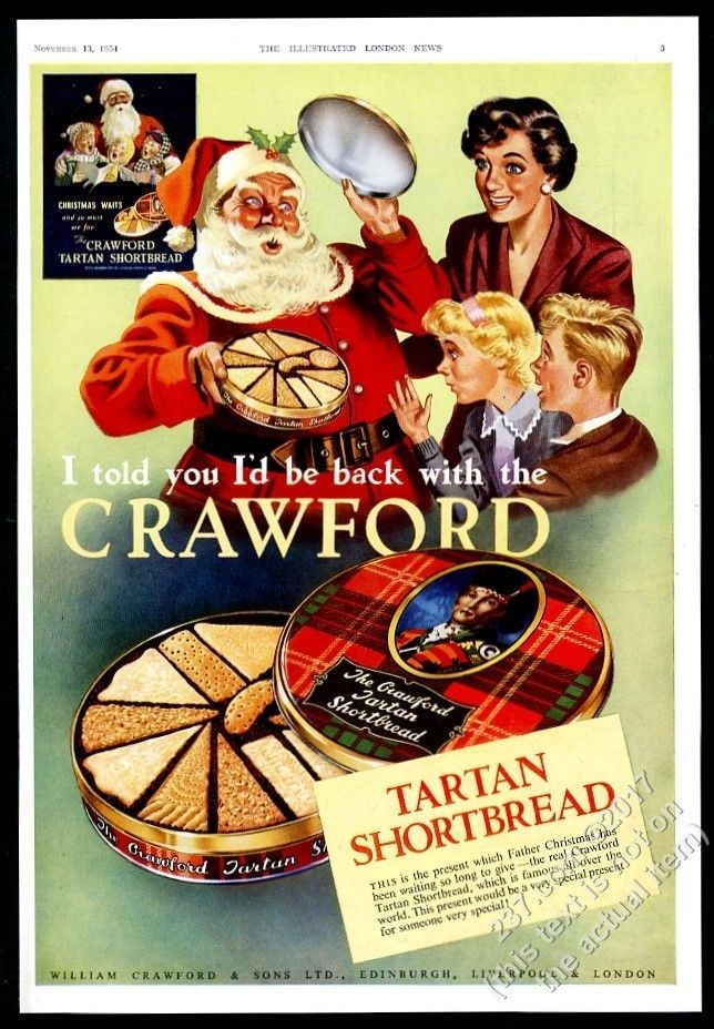 1954 Crawford's Tartan Shortbread Santa Clus Christmas art vintage print ad | Collectibles, Advertising, Food & Beverage | eBay!