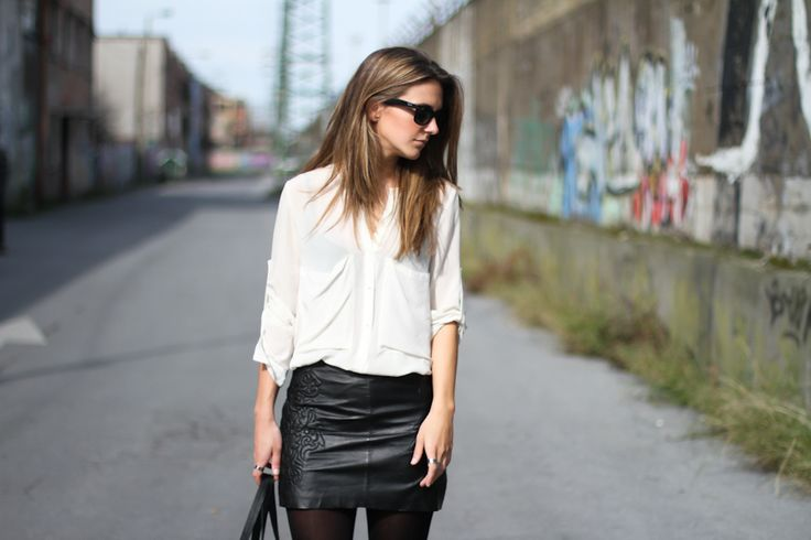 Leather mini embroided skirt