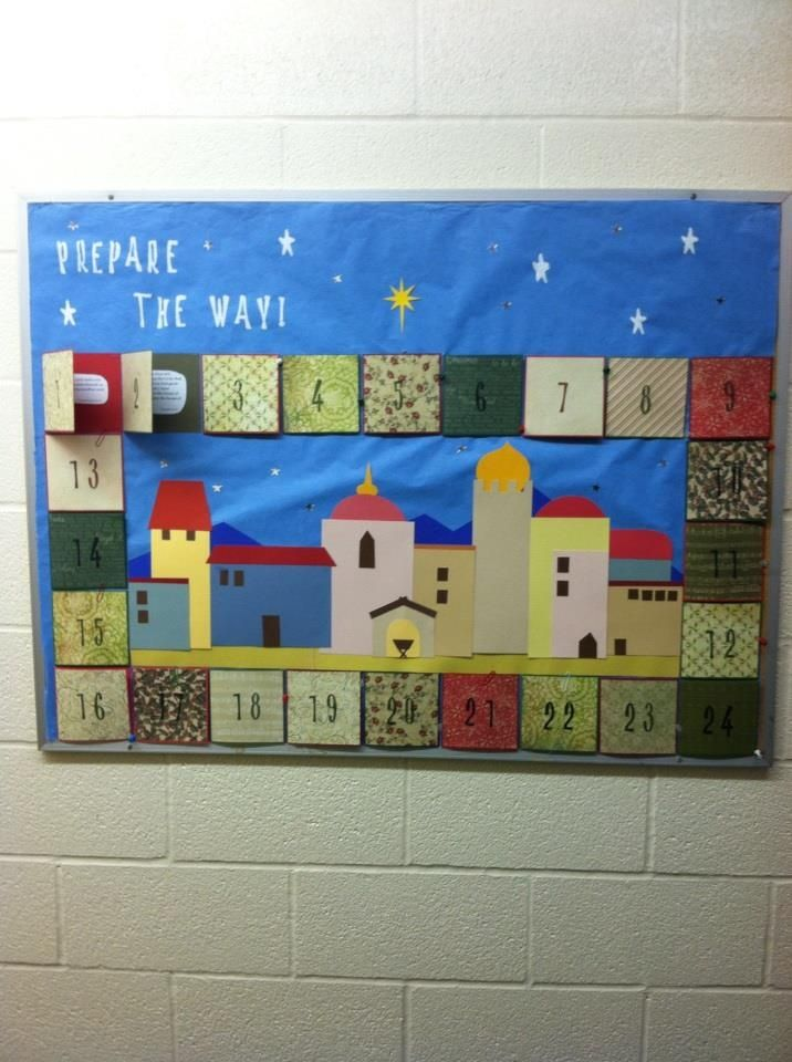 Advent bulletin board. Link to document with scriptures below: http://howsweeteritis.blogspot.com/2011/11/advent-calendar-teach-true-story-of.html