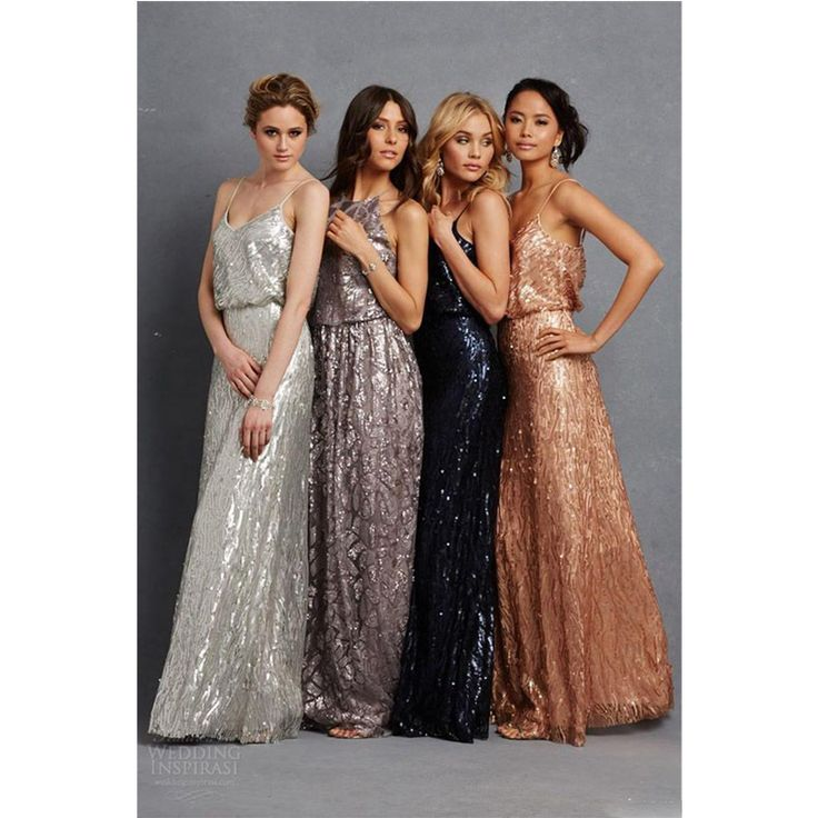 2016 Fashion Gold Silver Sequins Bridesmaids Dress Sexy Long Eleagnt Donna Morgan Plus Size African Arabic Maid Of Honors Party