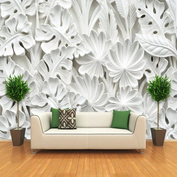 3D Stereoscopic Leaf Pattern Plaster Relief Mural Wall Paper Living Room