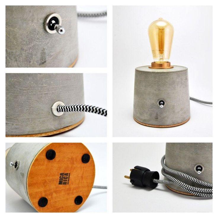 Lámpara De Hormigón. Lámpara de mesa de cemento por MicaRicaShop