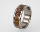 Mens Wedding Band / Titanium ring inlaid with IronWood and Deer Antler. $299.00, via Etsy.