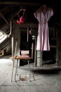 Speger og kjole på tørreloftet