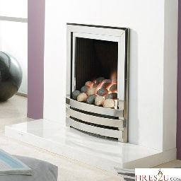 Flavel Linear powerflue gas fire is available with a contemporary pebble or coal fuel bed with eye-catching trim.