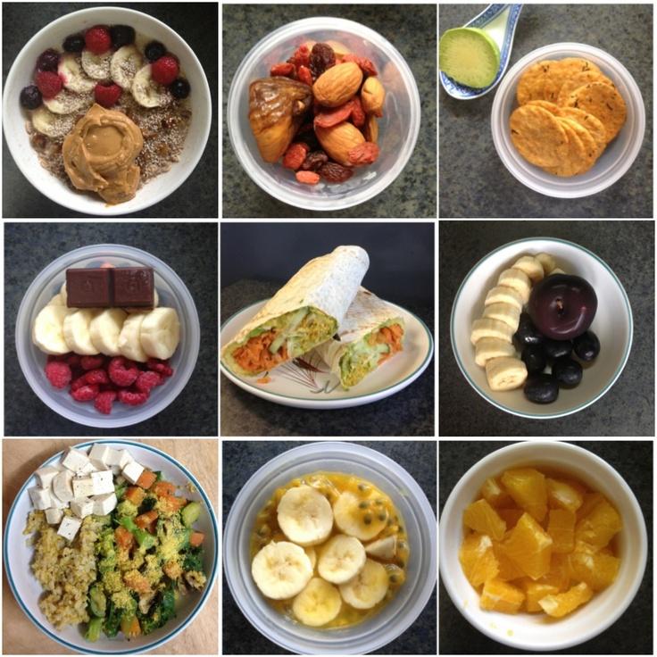 B: banana overnight oats with dates,chia seeds,raspberries, blueberries,peanut butter. Snacks: sun dried figs,almonds,goji berries, sultanas; brown rice,seaweed crackers,avocado; raw dark chocolate,1/2banana,raspberries; 3/4banana,plum,black grapes; 1/2banana,passionfruit,orange L: mountain bread wrap,avocado,hummus,cucumber,grated carrot,lettuce,pepper,garlic powder,nutritional yeast. D: steamed veggies (carrot,zucchini,broccoli,bok choy,mushrooms) brown rice,nutritional yeast,firm tofu.