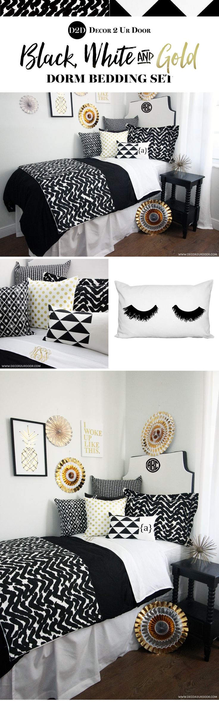 Black, white and gold dorm room. Trendy dorm room bedding and decor. Decorating a dorm room? Check out Décor 2 Ur Door for the latest dorm room decorating trends. Dorm Room Décor. Designer dorm headboard, dorm bed scarf, dorm bed skirt/dorm dust ruffle, monogram dorm room pillows, dorm room window treatment, lofted dorm bed décor, dorm room wall monogram, chair cover for dorm room, modern dorm room furniture and so much more!
