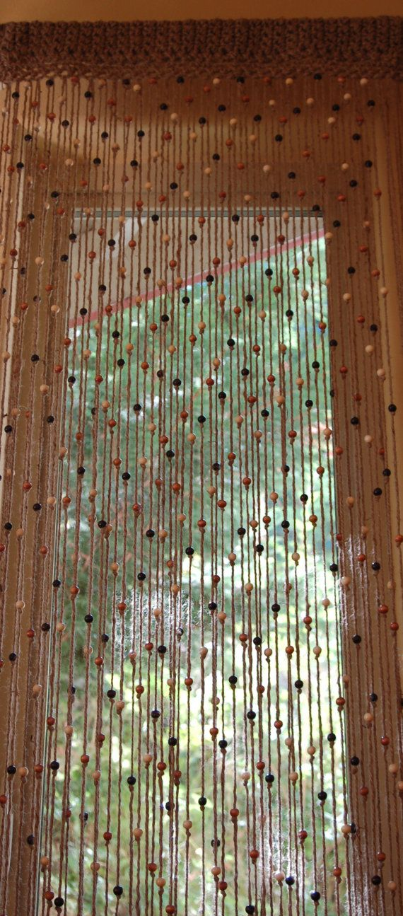 Natural Jute Crochet Curtain Door Or Window With Wooden