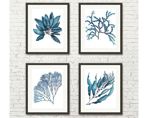 This is a Set of 4 Archival Prints of my original hand painted sea coral and sea weed watercolor paintings.  Choose your desired size from the drop down box.  Classic and timeless, these prints look crisp and elegant against any wall in your home or office, or would make a fabulous gift.  This listing is for a set of 4 professional quality UNFRAMED prints. It does not come with any frames or mats.  These wall decor prints are a faithful reproduction of my original hand painted artworks made…