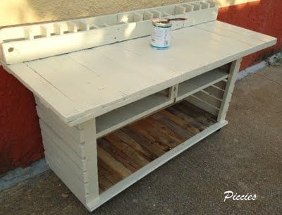 1 5 Workbench for my craft room in office furniture  with Pallets
