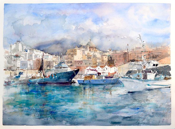 Roberto Andreoli TORRE ANNUNZIATA Acquerello cm. 76x56