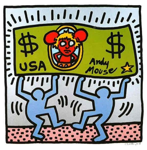 """Blue, KEITH HARING Andy Mouse 38.25/"""" x 38.25/"""" Serigraph 1989 Pop Art Black"""