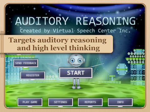 Auditory Reasoning by Virtual Speech Center Inc. ($17.99) for students, ages 6 and up with central auditory processing disorder (CAPD) or other related disorders (e.g., receptive language disorder or autism), to improve auditory processing requiring reasoning and high-level thinking. All the tasks are presented orally so the students can work solely on their auditory skills and processing.