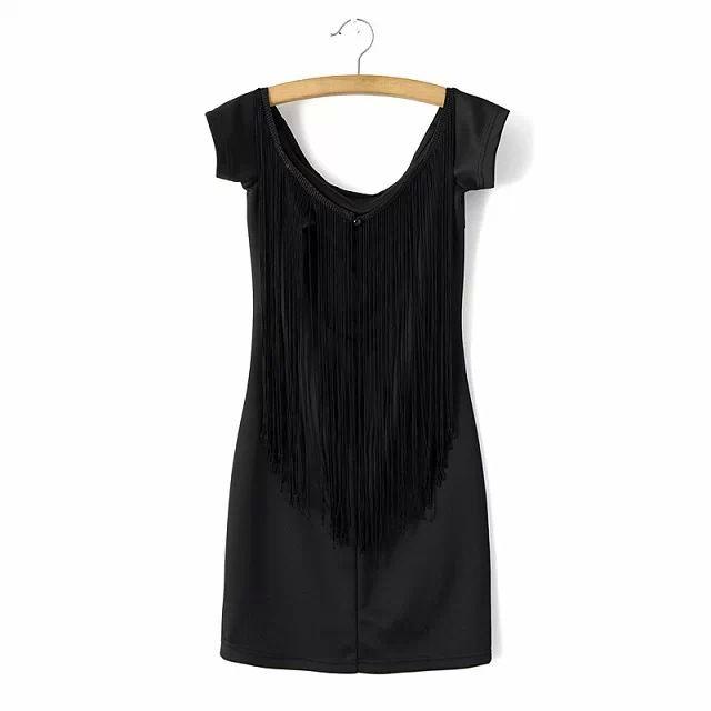 2015 primavera estate nuovo womenswear all'ingrosso sexty senza spalline con frange nappe schiena cuciture vestito aderente nero in Inizio     Formato Spalla Busto Lunghezza del manicotto da Abiti su AliExpress.com | Gruppo Alibaba