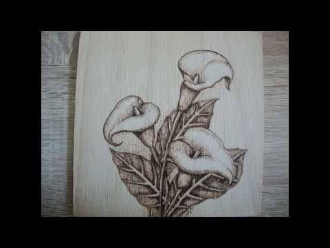 Wood burning flowers - YouTube