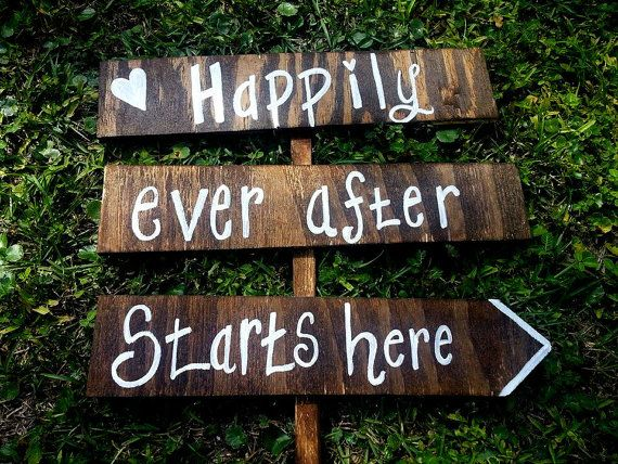 Wedding Road Sign Happily Ever After Starts Here Personalized Signs Ceremony Directional