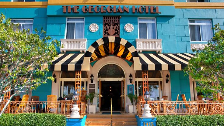"Georgian Hotel, Santa Monica, California. Opened in 1933, the Georgian Hotel in Santa Monica is complete with glamour, grace and speak-easy intrigue, The Georgian Hotel in Santa Monica draws vacationers from around the globe looking to bask in exclusivity and classic Hollywood ambience. This first ""Lady"" of the Santa Monica skyline is a graceful representation of classic style perfectly entwined with contemporary chic."
