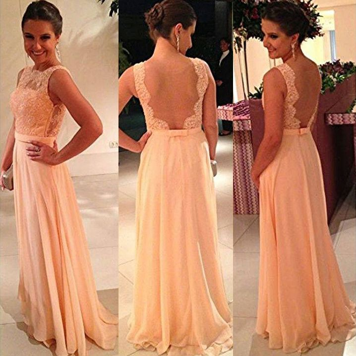 Backless Prom Dress with Floral Lace Bodice, Petal