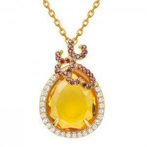 Silver Whispering Pendant - Citrine - Fei Liu #jewellery #feiliu #necklace #luxury