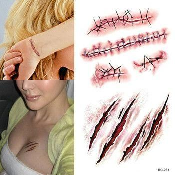 Decorate for the upcoming Halloween event with these Scars Stickers!Halloween Party DecorationHalloween Horror realistic blood injury wound scar pattern stickersComes with a set of 2 stickers -have funwith your friends!