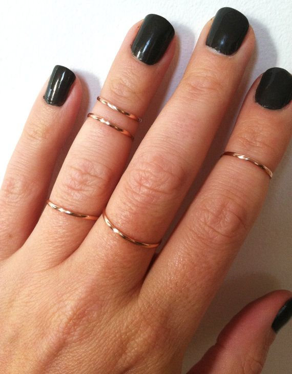 5 Layering Stacking Knuckle Rings Gold Filled by GLAMROCKSdesigns, $50.00 Size 1, 1.5, 2, 2.5