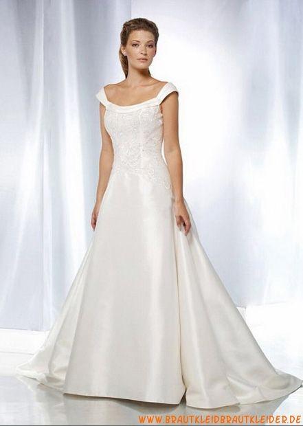 Günstiges Brautkleid aus Satin mit kurzes Ärmel A-Linie online